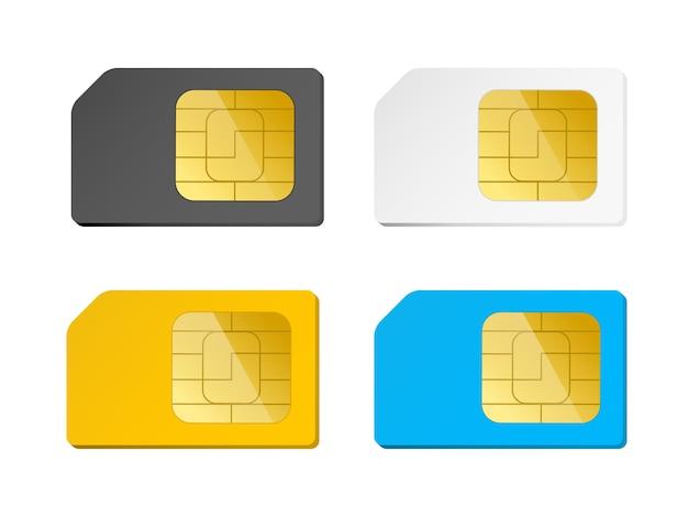 Quattro carte sim nere, bianche, blu, gialle Vettore Premium