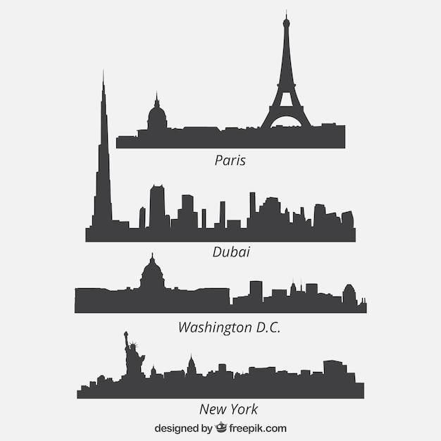 Quattro cityscape silhouettes collection Vettore Premium
