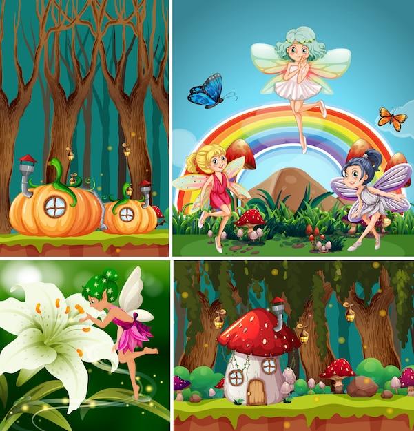 Quattro diverse scene del mondo fantastico con belle fate nella fiaba e villaggio di zucca nella foresta Vettore gratuito