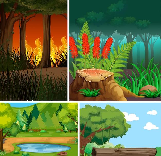 Quattro diverse scene della natura dello stile del fumetto della foresta e catastrofi della natura Vettore gratuito