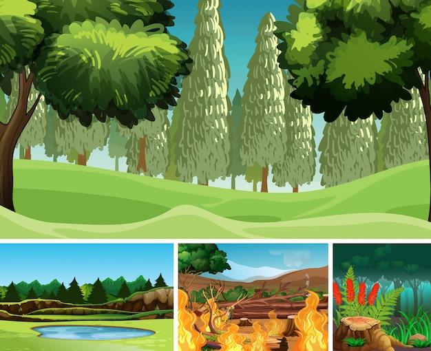 Quattro diverse scene di disastro naturale in stile cartone animato foresta Vettore Premium