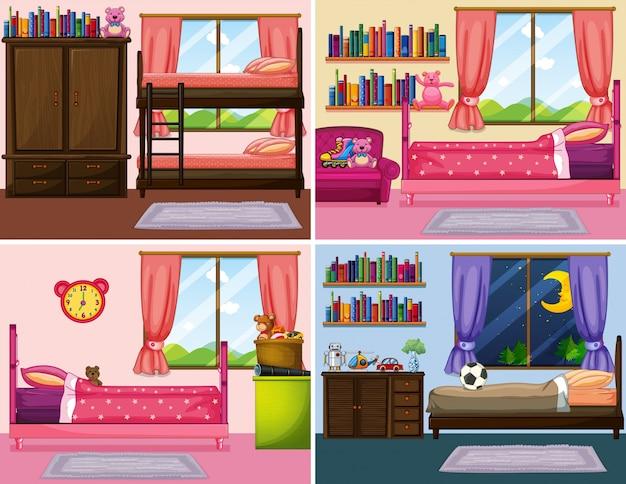 Quattro diversi disegni di camere da letto nella casa ...