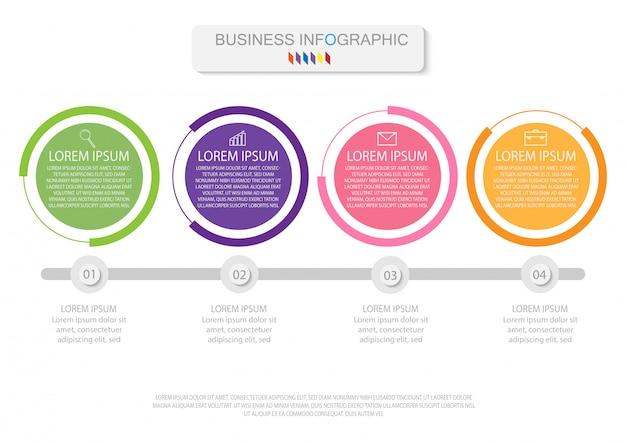 Quattro elementi colorati con icone lineari, opzioni o processi. può essere usato per la cronologia Vettore Premium