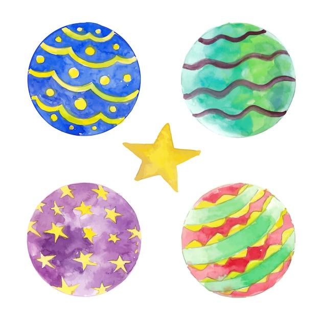 Quattro elementi della sfera di natale per la decorazione Vettore Premium