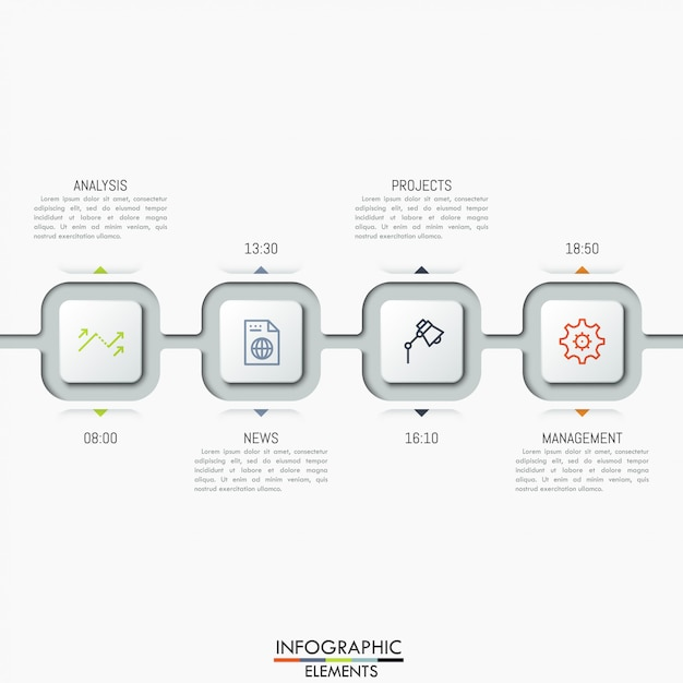 Quattro elementi quadrati collegati con icone, caselle di testo e indicazione del tempo. Vettore Premium