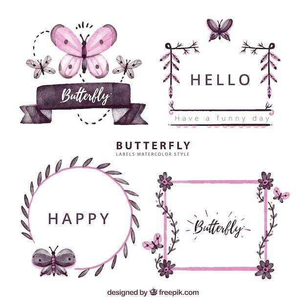 Quattro etichette con le farfalle Vettore gratuito