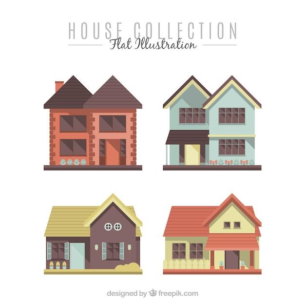 Quattro facciate delle case moderne in design piatto for Facciate di case moderne