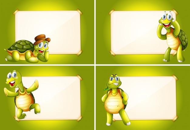 Quattro fotogrammi con tartarughe verdi Vettore gratuito