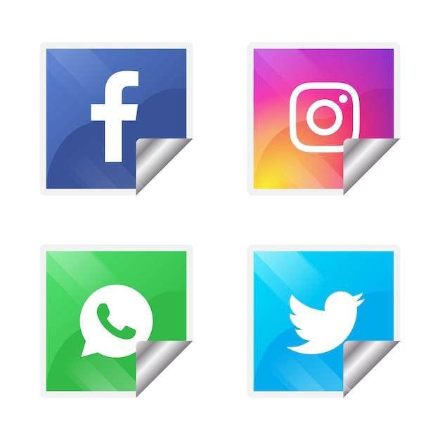 Quattro icone popolari di social media Vettore gratuito