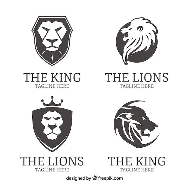 Quattro loghi di leone, in bianco e nero Vettore gratuito