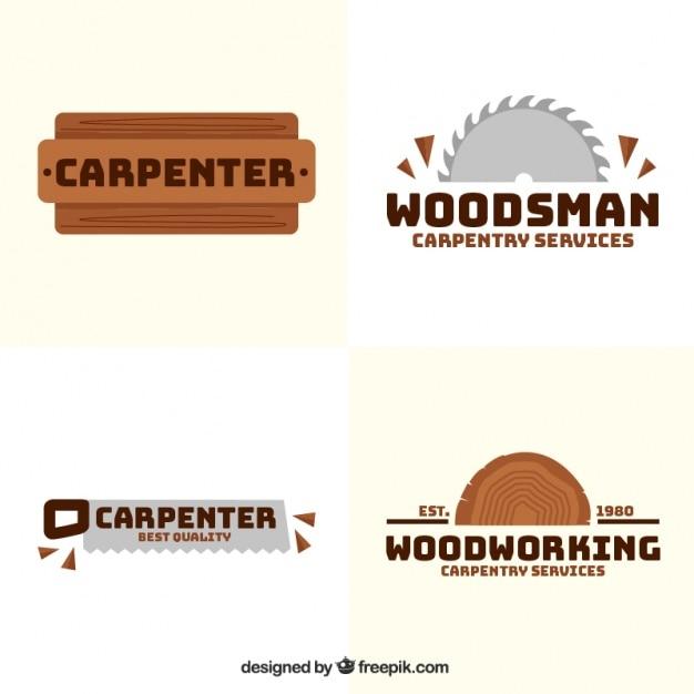 Quattro loghi per carpenteria Vettore gratuito