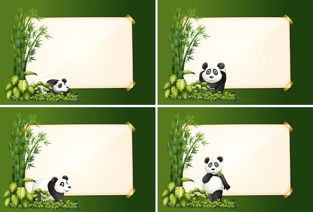 Quattro modelli di bordo con panda e bambù Vettore gratuito