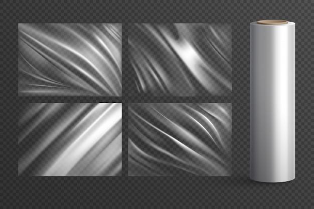Quattro pacchetti di polietilene avvolgimento vuoto isolato trama e rotolo di plastica su realistico trasparente Vettore gratuito