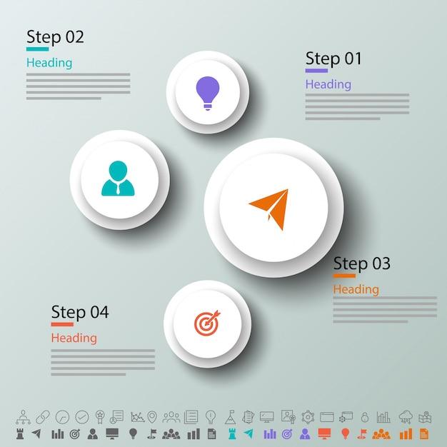 Quattro passi, layout di infographics timeline con icone impostate, in versione in bianco e nero e colorato. Vettore Premium