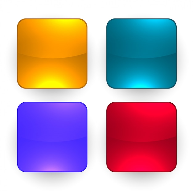 Quattro pulsanti vuoti lucidi impostati Vettore gratuito