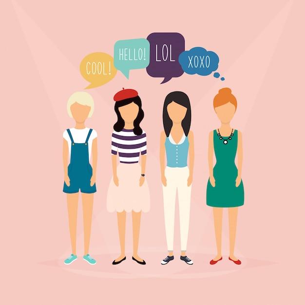 Quattro ragazze comunicano. fumetti con parole di social media. illustrazione di un concetto di comunicazione, relativo a feedback, recensioni e discussioni. Vettore Premium