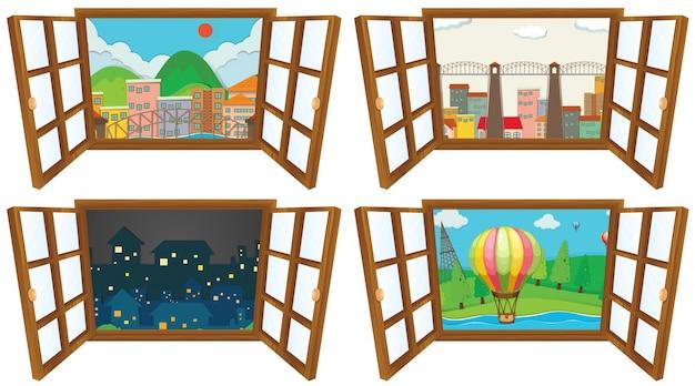 Quattro scene dall'illustrazione della finestra Vettore gratuito