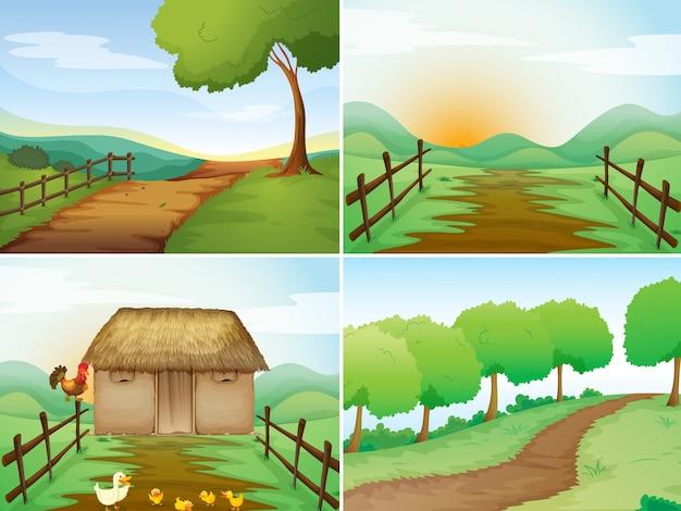 Quattro scene di campagna con baita e sentieri Vettore gratuito