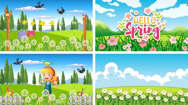 Quattro scene di sfondo con bambini e animali nel parco Vettore gratuito