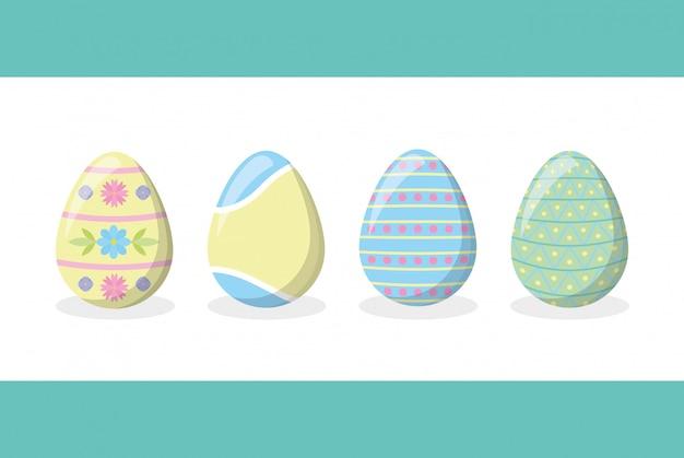Quattro uova di pasqua felici su bianco Vettore gratuito