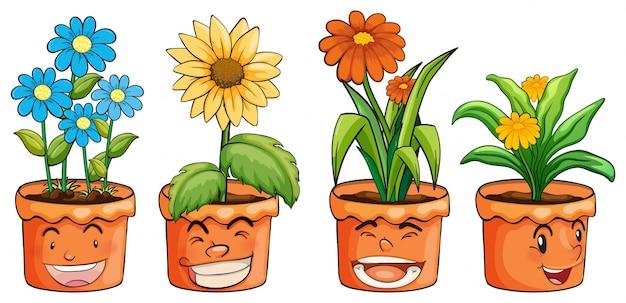 Quattro vasi di fiori Vettore Premium