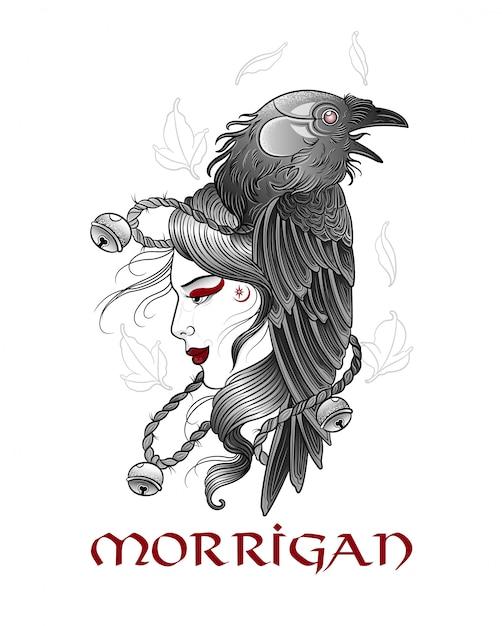 Queen raven morrison in maschera rituale Vettore Premium