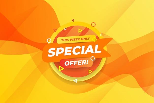 Questa settimana offre solo un modello di social media con offerte moderne in stile sfumato giallo Vettore Premium
