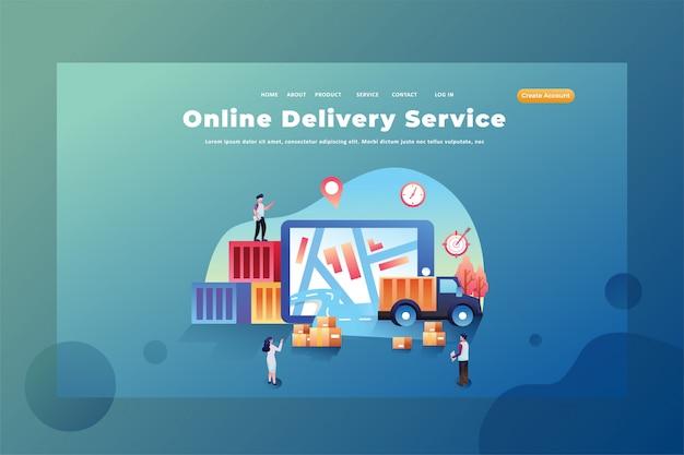 Queste persone lavorano come servizi di consegna online illustrazione del modello della pagina di destinazione dell'intestazione della pagina web di consegna e carico Vettore Premium