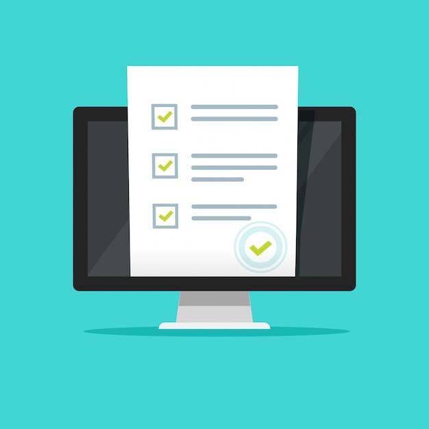 Questionario sondaggio online o documento di voto con timbro su computer pc Vettore Premium