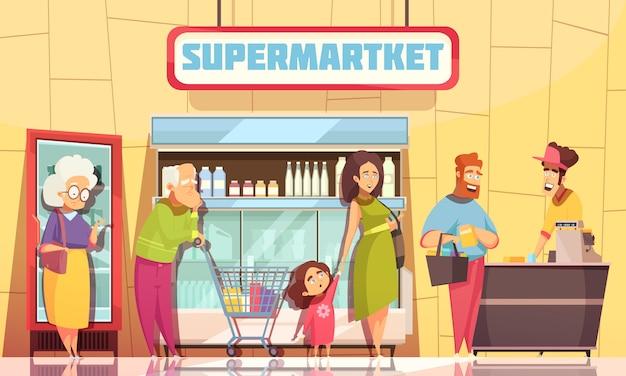 Queue people supermercato Vettore gratuito