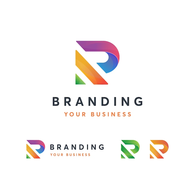 R logo template Vettore Premium