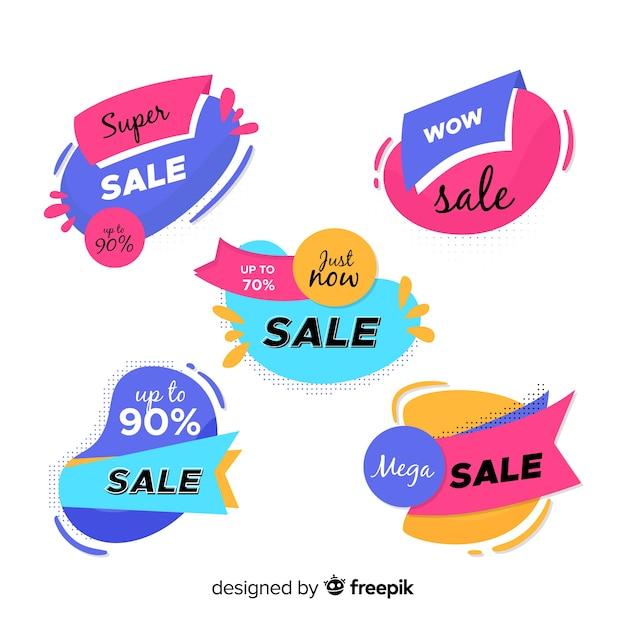 Raccolta astratta del modello delle insegne di vendite Vettore gratuito