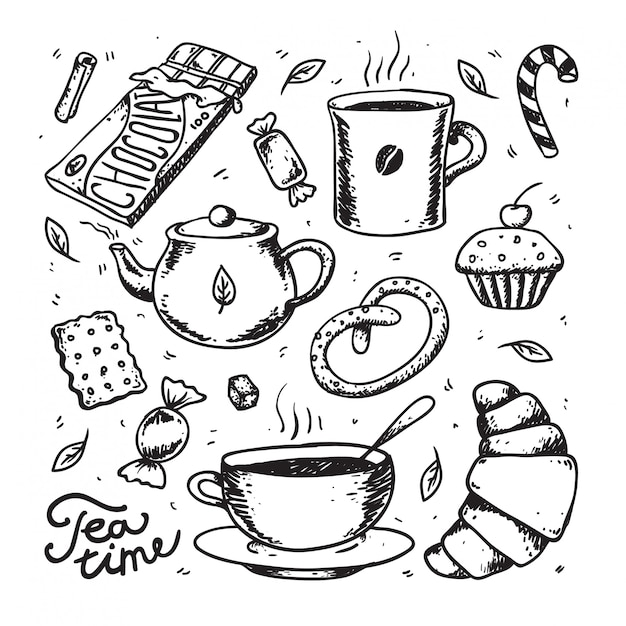 Raccolta astratta di vettore di tempo del tè e del caffè. deserto, torte, caramelle, biscotti e tazza di tè Vettore Premium