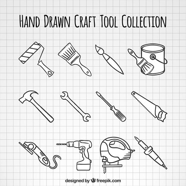 Raccolta attrezzi di falegnameria disegnati a mano Vettore gratuito