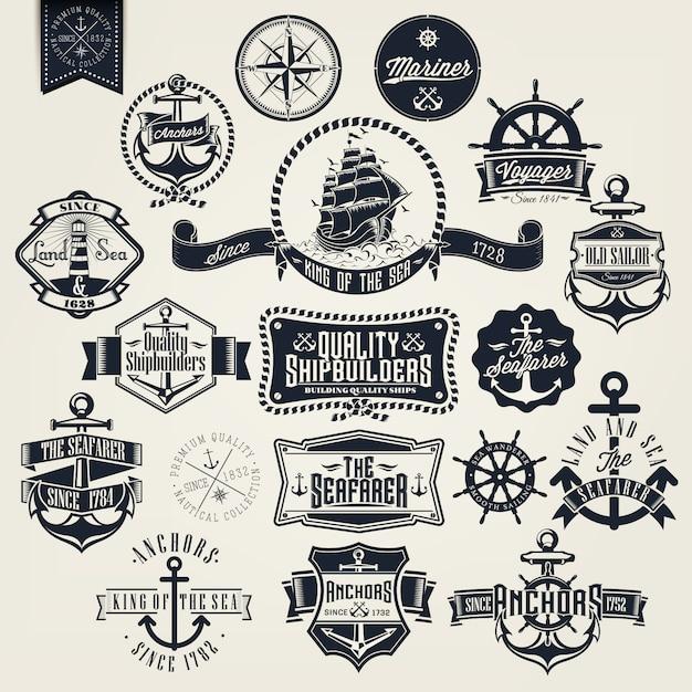 Raccolta badge vela Vettore gratuito