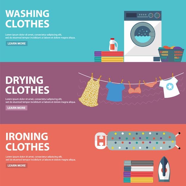 Raccolta banner lavanderia Vettore gratuito