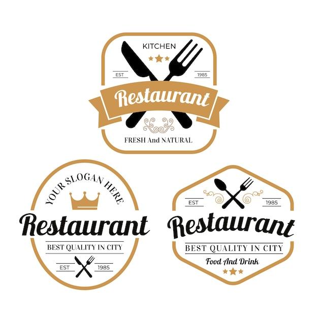 Raccolta d'annata dell'illustrazione di logo del ristorante Vettore gratuito