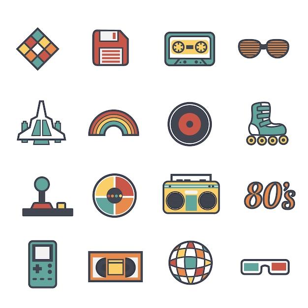 Raccolta degli anni ottanta oggetti vintage Vettore gratuito