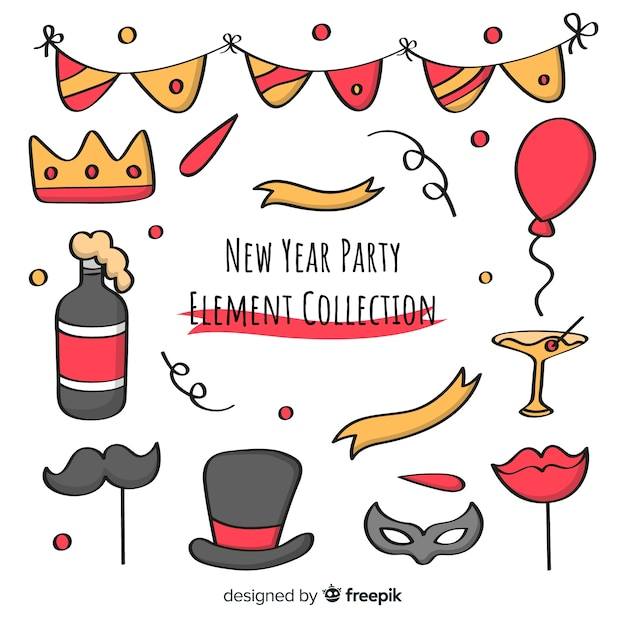 Raccolta degli elementi di photocall del fumetto del partito del nuovo anno Vettore gratuito