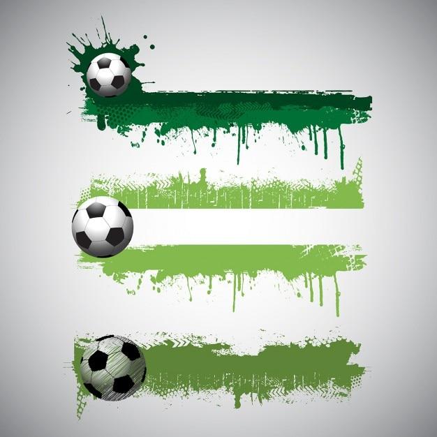 Raccolta dei banner di calcio in stile grunge Vettore gratuito
