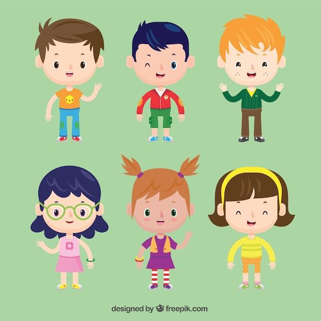 Raccolta dei bei bambini in stile cartone animato