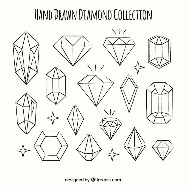 Raccolta dei diamanti disegnati a mano Vettore gratuito