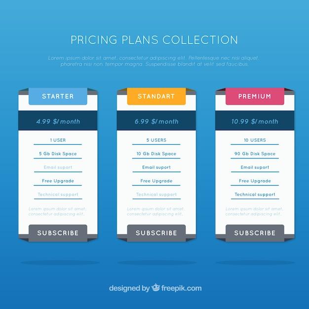 Raccolta dei prezzi piani di tavoli scaricare vettori gratis for Creatore di piani gratuito