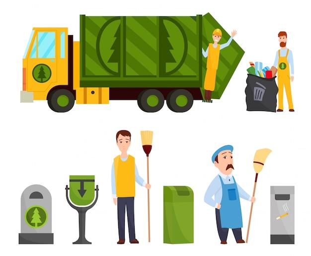 Raccolta dei rifiuti. camion della spazzatura, immondizia uomo nel sacchetto dei rifiuti uniforme cestino. illustrazione di concetto di gestione dei rifiuti. Vettore Premium