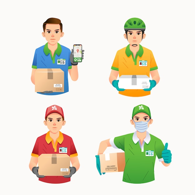 Raccolta del carattere o della mascotte dell'ufficiale di servizio di distribuzione con differenti vestiti ed illustrazione di posa Vettore Premium