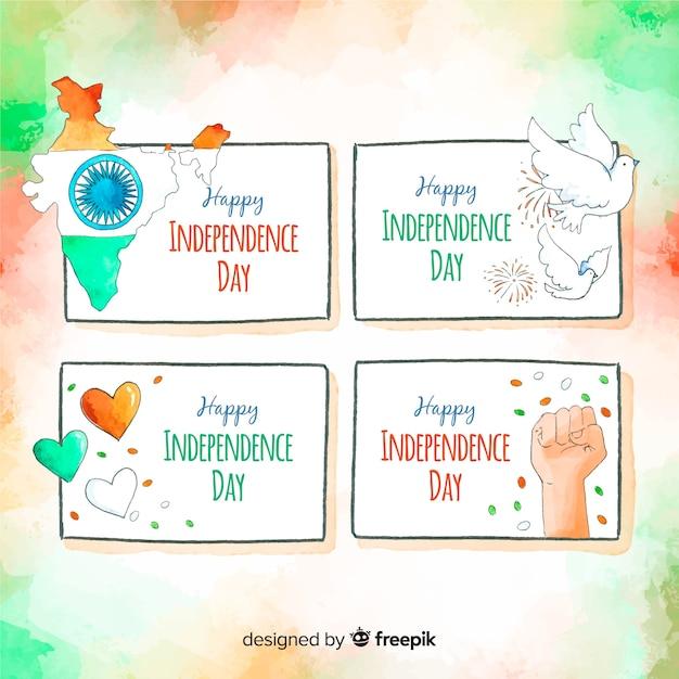 Raccolta del distintivo di giorno dell'indipendenza india dell'acquerello Vettore gratuito