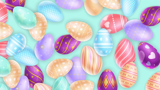 Raccolta del fondo ornamentale delle uova di pasqua Vettore Premium