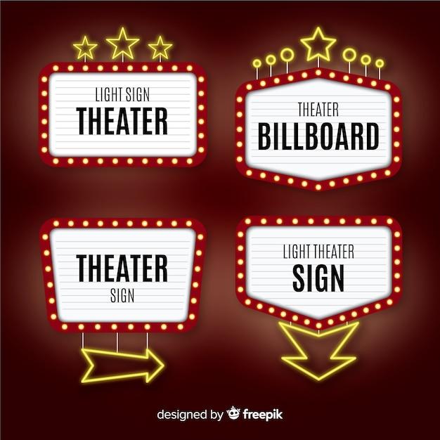 Raccolta del modello del segno del teatro piatto Vettore gratuito