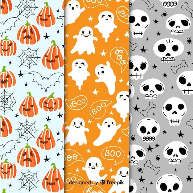 Raccolta del modello della festa di halloween con i fantasmi e le zucche Vettore gratuito