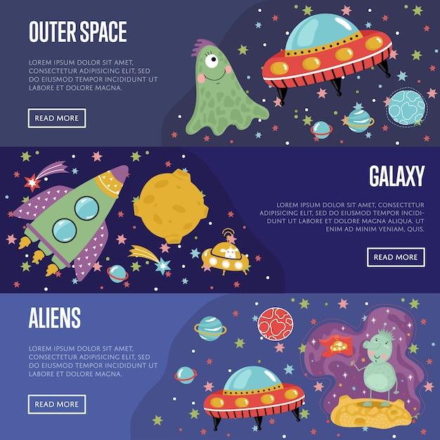 Raccolta del modello delle insegne del fumetto di tema dello spazio Vettore Premium
